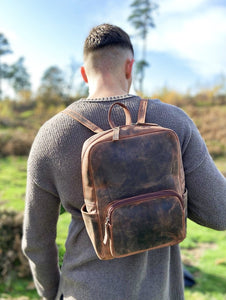 Distressed Leather Backpack - Brown - LavenderLime