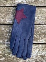Load image into Gallery viewer, Faux Suede Gloves With Applique Star - Navy Blue - LavenderLime