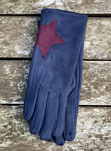 Faux Suede Gloves With Applique Star - Navy Blue - LavenderLime