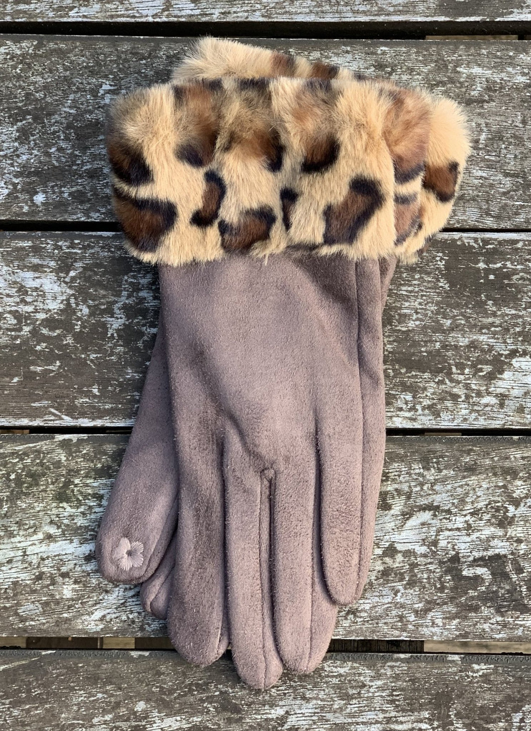 Faux Suede Gloves with Faux Fur Leopard Cuff - Mocha - LavenderLime