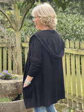 Load image into Gallery viewer, Fine Knit Hooded Cardigan - Black - LavenderLime