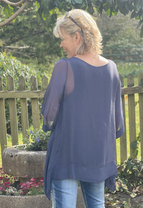 Floaty Silk Top - Navy - LavenderLime