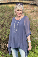 Load image into Gallery viewer, Floaty Silk Top - Navy - LavenderLime