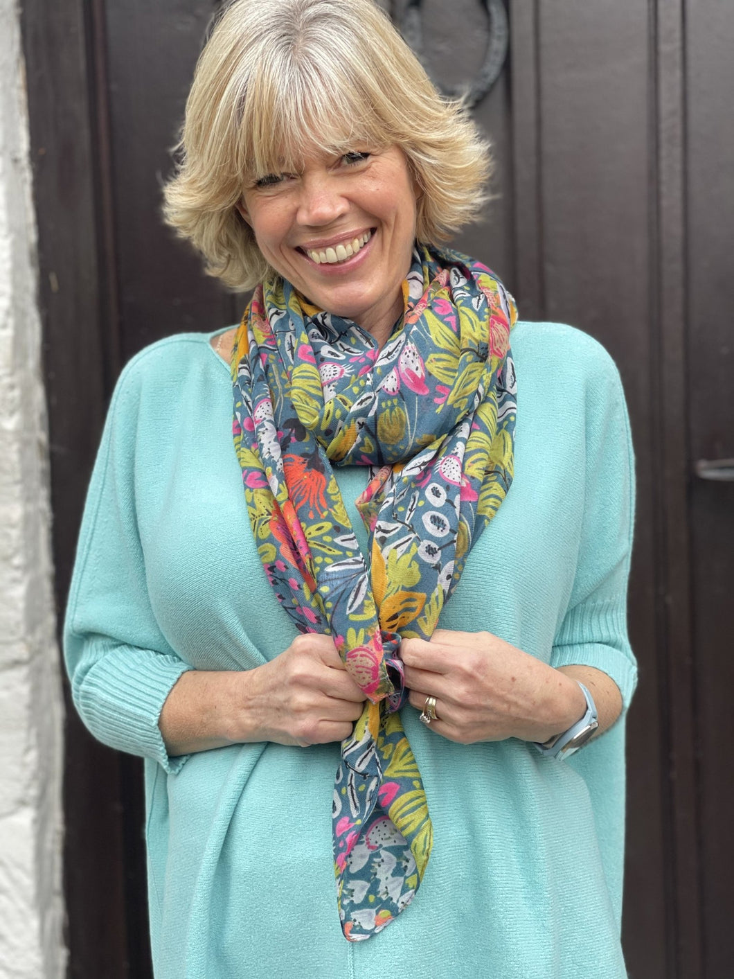Garden Flowers Patterned Recycled Scarf - LavenderLime