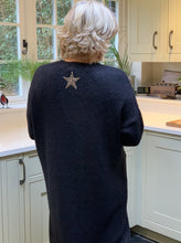 Load image into Gallery viewer, Glitter Star Chunky Knit Long Cardigan -Black - LavenderLime