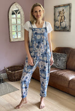 Load image into Gallery viewer, Jersey Dungarees - Blue Flowers - LavenderLime