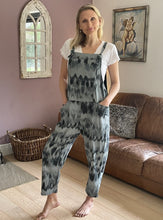 Load image into Gallery viewer, Jersey Dungarees - Dark Grey Tie Dye - LavenderLime