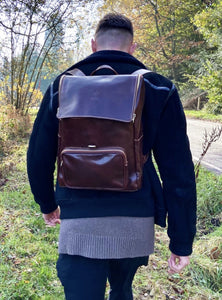 Large Italian Leather Backpack - Brown - LavenderLime