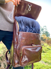 Load image into Gallery viewer, Large Italian Leather Backpack - Brown - LavenderLime