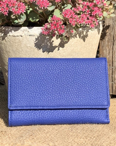 Large Leather Purse - Blue - LavenderLime