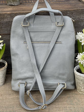 Load image into Gallery viewer, Large Soft Square Pocket Leather Backpack - Silver Grey - LavenderLime
