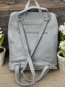 Large Soft Square Pocket Leather Backpack - Silver Grey - LavenderLime