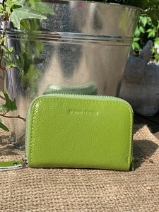 Leather Card Holder Purse - Lime Green - LavenderLime