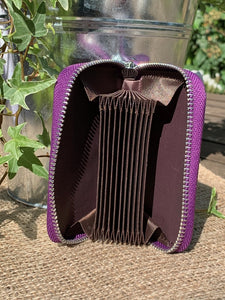 Leather Card Holder Purse - Purple - LavenderLime