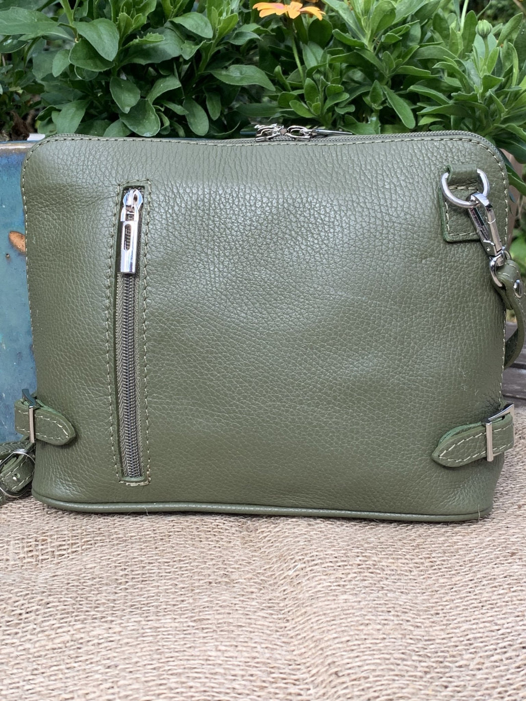 Leather Cross Body Bag - Olive Green - LavenderLime
