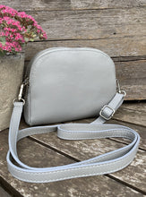 Load image into Gallery viewer, Leather Zip Messenger Bag - Pale Grey - LavenderLime