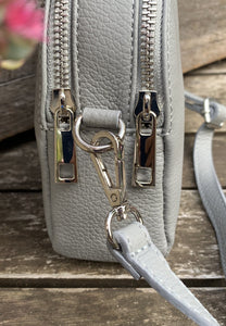 Leather Zip Messenger Bag - Pale Grey - LavenderLime