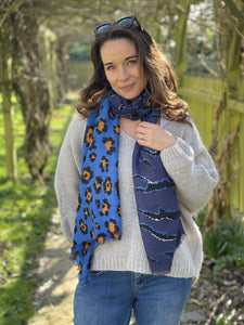 Leopard And Tiger Print - Cobalt Blue And Navy - LavenderLime