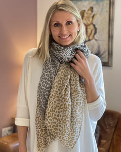 Leopard Print Scarf - Mustard And Grey - LavenderLime