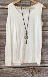 Long Sleeved T-Shirt with Vest Top and Necklace - Khaki - LavenderLime