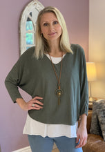 Load image into Gallery viewer, Long Sleeved T-Shirt with Vest Top and Necklace - Khaki - LavenderLime