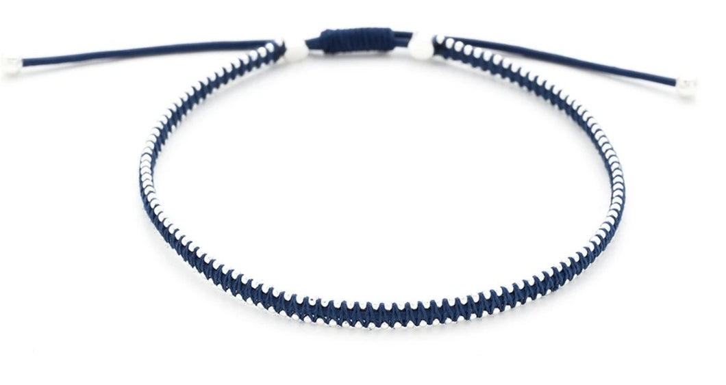 Midnight Blue And Silver Pull Through Bracelet - LavenderLime