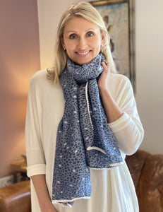 Navy And Dusky Blue Patterned Scarf With White Pom Pom Edging - LavenderLime