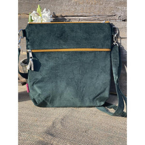 Needle Cord Messenger Bag With Embroidered Bee Motive - Green - LavenderLime