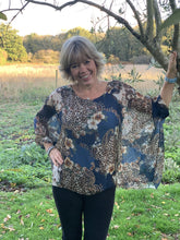 Load image into Gallery viewer, Petrol Blue Silk Top - Animal, Flowers and Paisley Print - LavenderLime