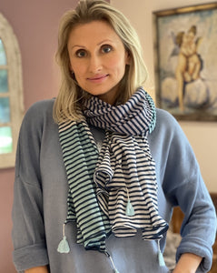 Pure Cotton Scarf - Navy Stripes On White, Turquoise and Pale Grey - LavenderLime
