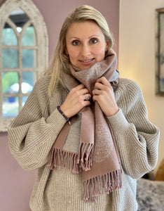 Reversible Large Tree Of Life Scarf - Dusky Pale Pink/Pale Grey - LavenderLime