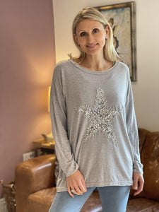 Sequin Star Knitted Top - Pale Grey - LavenderLime