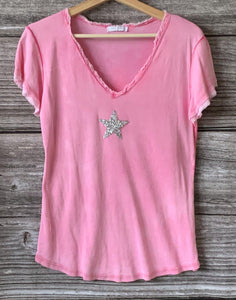 Sequin Star T-Shirt - Fuchsia Pink - LavenderLime