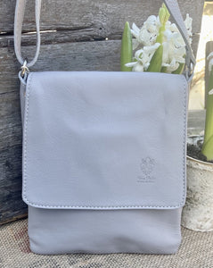 Small Leather Messenger Bag - Pale Grey - LavenderLime