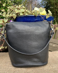Small Soft Leather Handbag - Black - LavenderLime