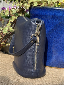 Small Soft Leather Handbag - Navy Blue - LavenderLime