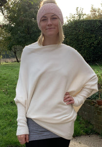 Soft Knit Asymmetrical Jumper - Cream - LavenderLime