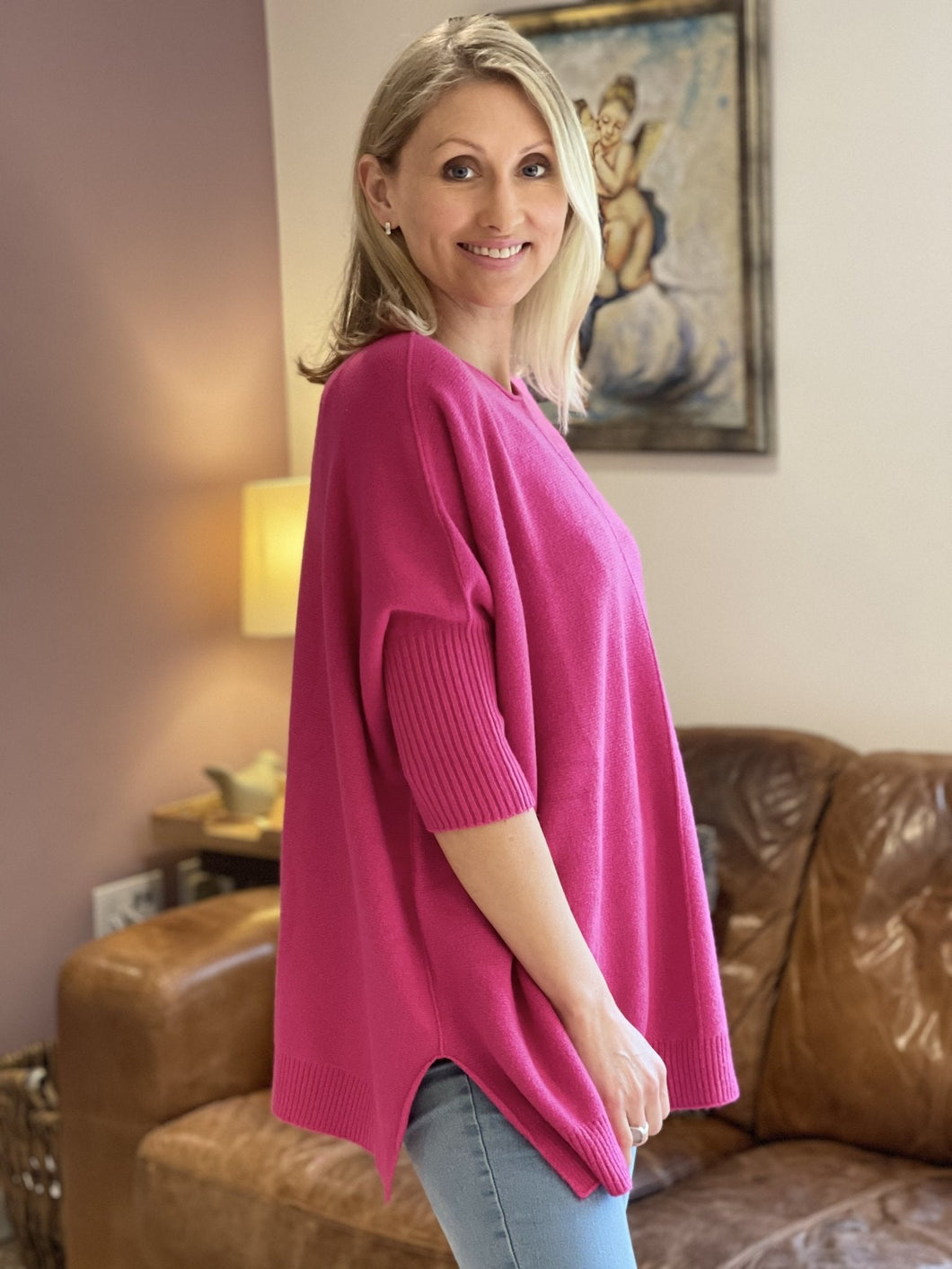 Soft Knit Baggy Jumper - Fuchsia Pink - LavenderLime