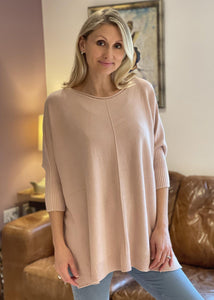 Soft Knit Baggy Jumper - Pale Pink - LavenderLime