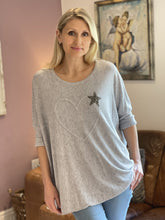 Load image into Gallery viewer, Soft Knit Embroidered Heart And Star Top - Pale Grey - LavenderLime