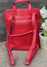 Load image into Gallery viewer, Soft Square Pocket Leather Backpack - Bright Red - LavenderLime