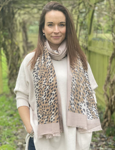 Soft Winter Animal Print Scarf - Taupe and Caramel - LavenderLime