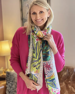 Spring Flowers Scarf - Multi Coloured Pattern - LavenderLime