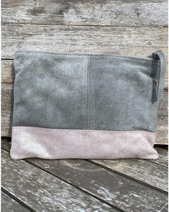 Suede and Leather Clutch Bag - Grey - LavenderLime
