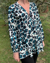 Load image into Gallery viewer, V-Neck Blouse - Teal, Black and White Leopard Print - LavenderLime