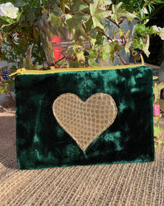 Velvet Coin Purse with Gold Heart - Teal - LavenderLime