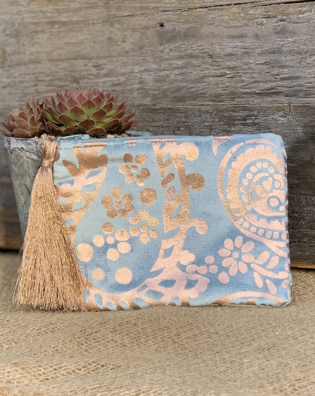 Velvet Gold Swirl Coin Purse - Pale Blue - LavenderLime