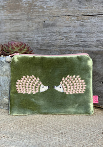 Velvet Hedgehogs Coin Purse - Olive Green And Pink - LavenderLime