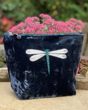 Load image into Gallery viewer, Velvet Make Up Bag With Embroidered Dragonfly - Navy - LavenderLime