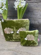 Load image into Gallery viewer, Velvet Make Up Bag With Hedgehogs - Olive Green And Pink - LavenderLime